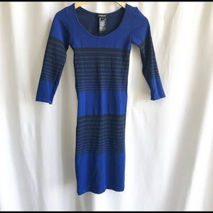 Bebe royal blue and black stripe bodycon dress